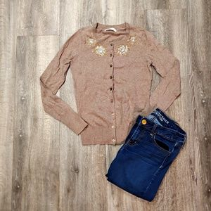 Old Navy Brown Sweater with detail on neckline